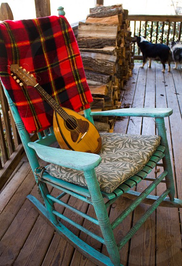 Rustic rocking chair porch farm  music mandolin  photo
