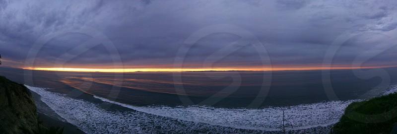 Panorama of sunrise on the Santa Barbara Coast  photo