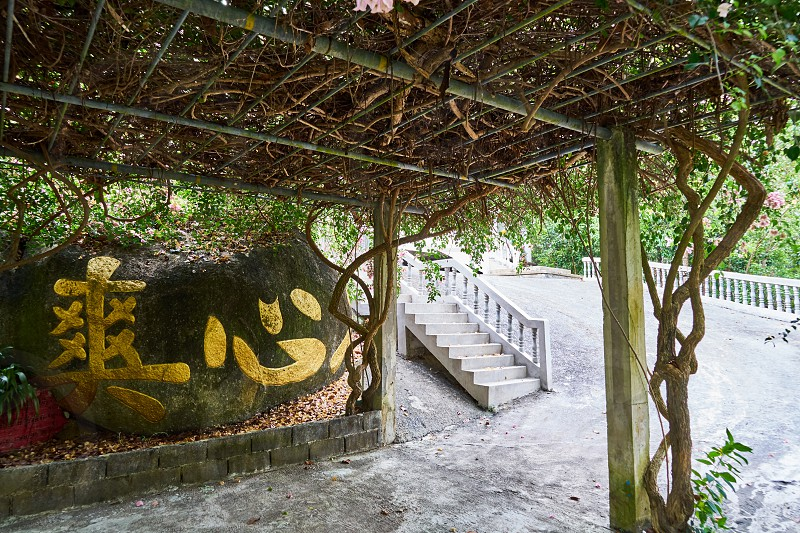 Withe on a canopy. Chinese Temple. Koh Phangan photo