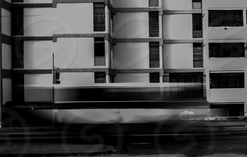 A bus passing by in the street  photo
