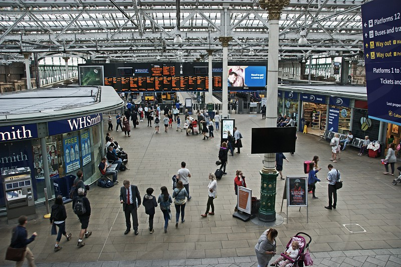 SCOTLAND. Edinburgh Waverley station. Looking down onto the station concourse and retail area from the main footbridge. photo