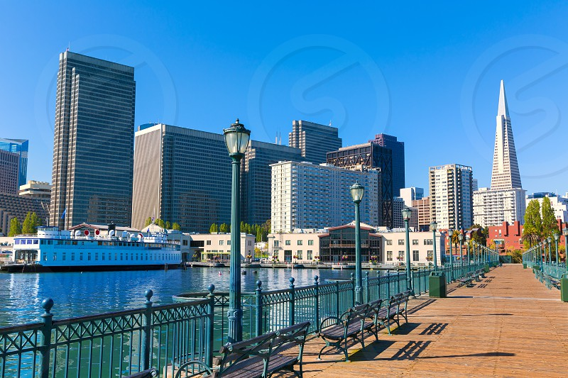 San Francisco downtown from pier 7 in California USA photo