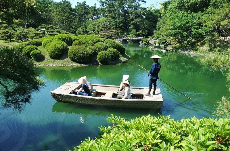 Japan Takamatsu Ritsurin-koen garden park boat photo