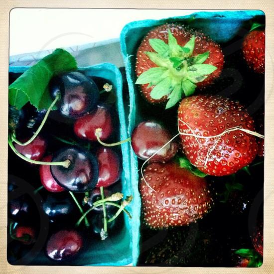 Cherries strawberries  photo