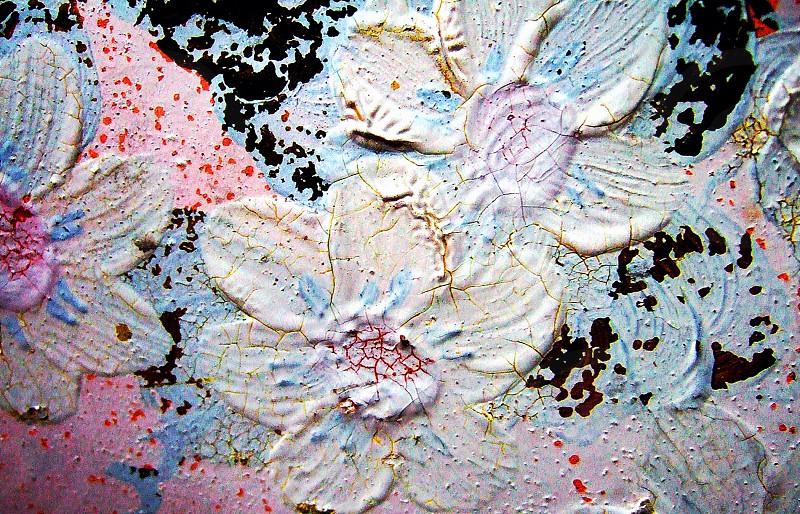 Detail of vintage painted metal pot - San Diego CA photo