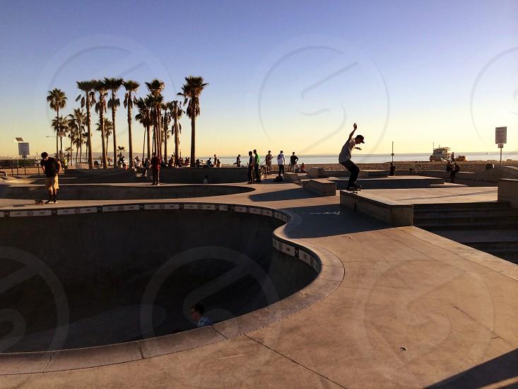 Venice beack skatepark skater at sunset photo
