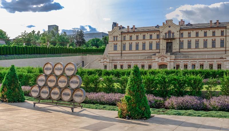 Anenii Moldova – 06.28.2019. Castle Mimi Winery Factory and Resort in Moldova on a sunny summer day photo