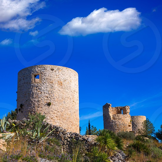 Javea denia San antonio Cape old windmills masonry structure in Alicante province spain photo
