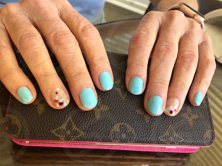 Nails manicure blue dots decorations gel fingernails LV phone case cell maroons silver  photo