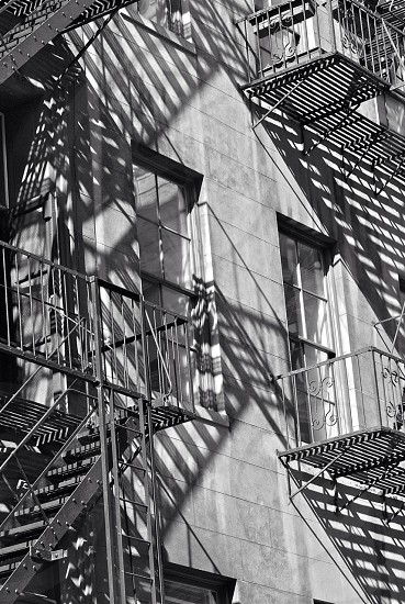 grayscale photo of a grey staircase photo