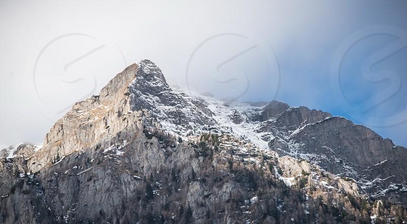 Busegi Mountains on the Prahova Valley near  Holy Cross Caraimas monastery in Romania photo