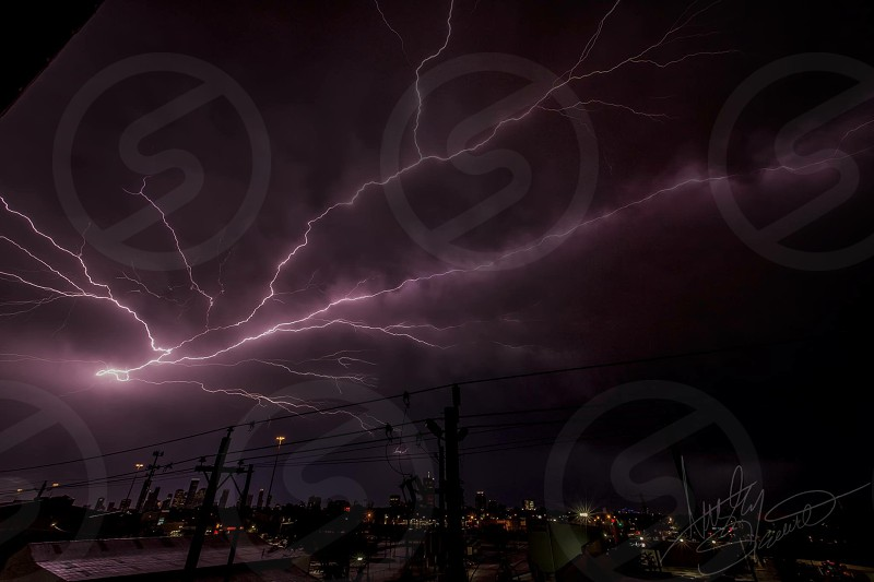 Weather lightning thunderstorm rain nature violent storms storm electric electrical Houston Texas HTX downtown nighttime photo