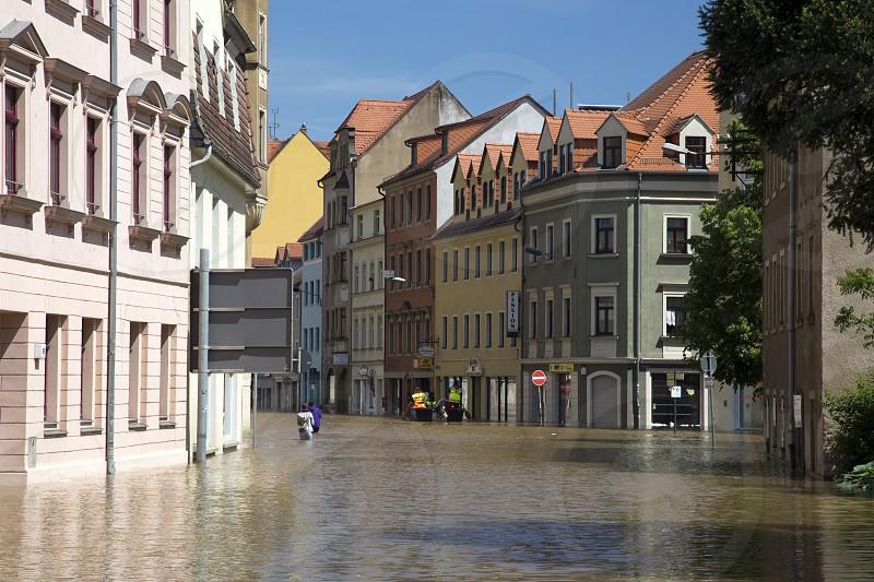 Flooding in Meyssen Germany in June 2013 photo