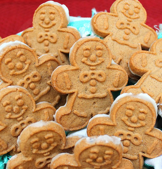 Closeup of small gingerbread men cookies. photo