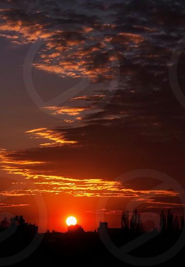 sunset view on horizon photo