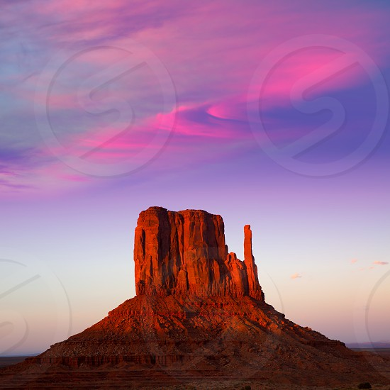 Monument Valley West Mitten at sunset colorful sky Utah photo