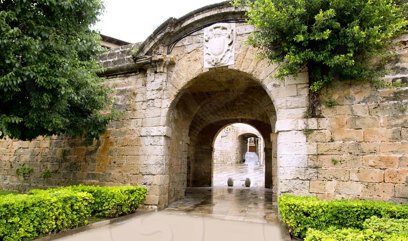 arches of Barrio Calatrava Los Patios in Majorca at Palma de Mallorca Balearic Islands photo