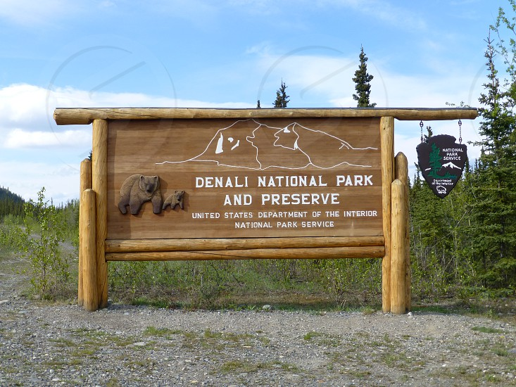 Denali National Park And Preserve signboard surrounded by trees photo