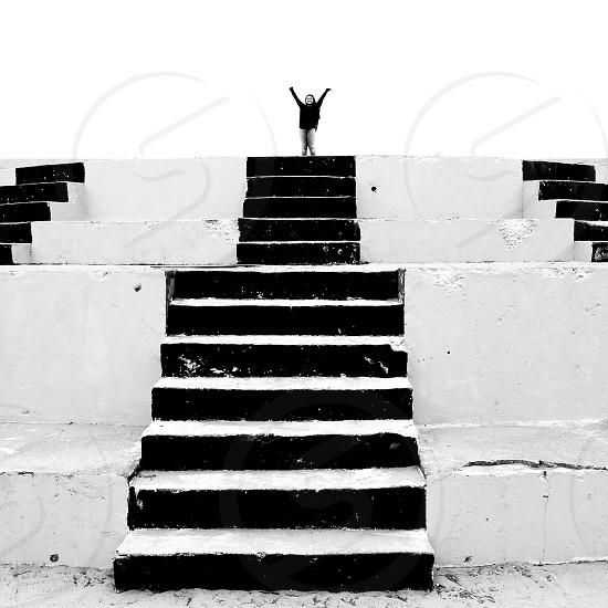 Stairs joyful happy girl  photo